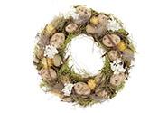 Věnec s proutím a umělými vajíčky, velikonoční dekorace