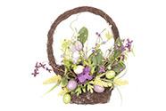 Košík z proutí, nástěnná velikonoční dekorace, barva lila