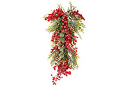 Dekorace na pověšení, ojíněná, červené jeřabiny a zelené větvičky.