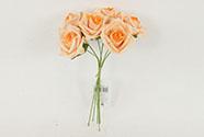 Růžičky, puget 6ks, barva  lososová. Květina umělá pěnová.