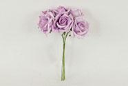 Růžičky, puget 6ks, barva fialová. Květina umělá pěnová.