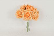 Růžičky, puget 6ks, barva  oranžová. Květina umělá pěnová.