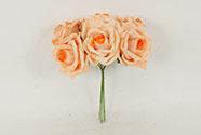 Růžičky, puget 6ks, barva  lososvá. Květina umělá pěnová.