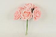 Růžičky, puget 6ks, barva růžová. Květina umělá pěnová.