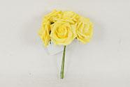 Růžičky, puget 6ks, barva žlutá. Květina umělá pěnová.