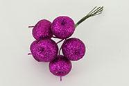 Jablíčko umělé na drátku fialové ojíněné, cena za 6 kusů