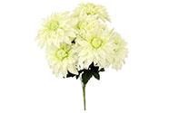 Jiřinky puget, 7 hlav, barva bílá. Květina umělá.
