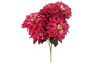Jiřinky puget, 7 hlav, barva vínová.  Květina umělá.