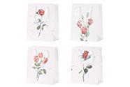 Taška dárková papírová, mix 4 druhů, cena za 1 kus, motiv růže