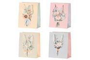 Taška dárková papírová, mix 4 druhů, cena za 1 kus, motiv kytic