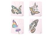 Taška dárková papírová, mix 4 druhů, cena za 1 kus, motiv motýlů