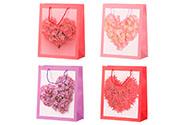 Taška dárková papírová, mix 4 druhů, cena za 1 kus, motiv srdce