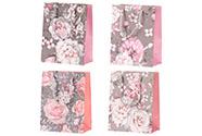 Taška dárková papírová, mix 4 druhů, cena za 1 kus, květinový motiv