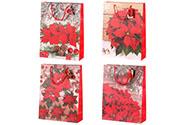 Taška dárková papírová, mix 4 druhů, cena za 1 kus, vánoční motiv