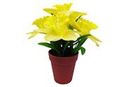 Umělá květina. Narcis v plastovém květináči, barva žlutá