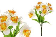 Narciska, umělá květina, barva bílo-oranžová