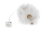 Andělíček ve věnečku s LED světlem, barva bílá