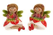 Jahodová víla sedící, polyresin, mix dvou druhů, barva červená, cena za 1 kus