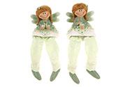 Jahodová víla sedící,nohy z textilu, polyresin, barva zelená, mix dvou druhů, ce