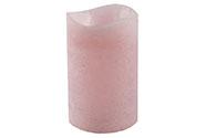 Svícen ve tvaru svíčky, s LED světlem, plast potažený voskem, barva růžová