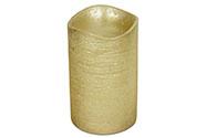 Svícen ve tvaru svíčky, s LED světlem, plast potažený voskem, barva zlatá metali