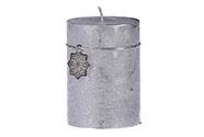 Svíčka vánoční, stříbrná barva. 290g vosku