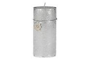 Svíčka vánoční, stříbrná barva. 426g vosku