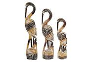 Dřevěná dekorační volavka, Sada 3ks