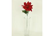Květina umělá. Poinsécie, vánoční růže , barva červená 1-hlavá