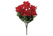 Puget vánočních růží, poinsécek červených (7hlav) . Květina umělá.
