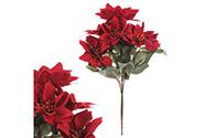 Puget vánočních růží, poinsécek červených (7hlav). Květina umělá.