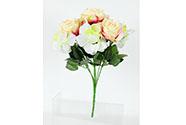 Růže a hortenzie, puget, barva smetanová. Květina umělá.