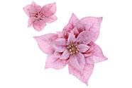 Hlavička vánoční růže na klipu, barva světle fialová.