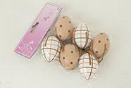 Vajíčko plastové béžové 6 cm, dekorační na zavěšení, cena za sadu 6 kusů