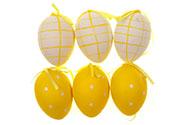 Vajíčko žluté plastové 6 cm, dekorační na zavěšení, cena za sadu 6 kusů