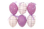Vajíčko lila plastové 6 cm, dekorační na zavěšení, cena za sadu 6 kusů