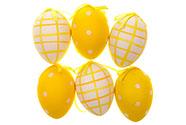 Vajíčko žluté plastové 5 cm, dekorační na zavěšení, cena za sadu 6 kusů