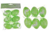Vajíčka plastová 6cm, s nápisem VESELÉ  VELIKONOCE, 6 kusů v sáčku, barva zelená