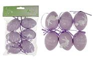 Vajíčka plastová 6cm, s nápisem VESELÉ  VELIKONOCE, 6 kusů v sáčku, barva lila,