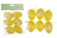 Vajíčka plastová 6cm, s nápisem VESELÉ  VELIKONOCE, 6 kusů v sáčku, barva žlutá