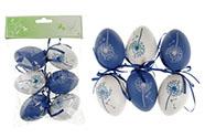 Vajíčka plastová  6cm, 6 kusů v sáčku, barva modrá a bílá, cena za sáček