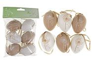 Vajíčka plastová  6cm, 6 kusů v sáčku, barva hnědá a bílá, cena za sáček