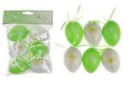 Vajíčka plastová  6cm, 6 kusů v sáčku, barva zelená a bílá, cena za sáček