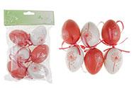 Vajíčka plastová  6cm, 6 kusů v sáčku, barva červená a bílá, cena za sáček