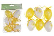 Vajíčka plastová  6cm, 6 kusů v sáčku, barva žlutá a bílá, cena za sáček