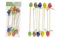 Vajíčka plastová 4cm, dekorace zápich, 10 kusů v sáčku, mix barev, cena za 1 sáč