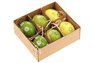 Kraslice z pravých vajíček, zelená varianta. Cena za 6ks v krabičce.