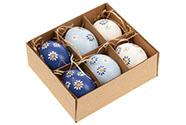 Kraslice z pravých vajíček, modro - bílá varianta. Cena za 6ks v krabičce.