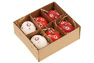 Kraslice z pravých vajíček, červeno - bílá varianta. Cena za 6ks v krabičce.