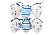 Vajíčka plastová 6cm, cena za 1 sáček (6 ks), modro-bílé